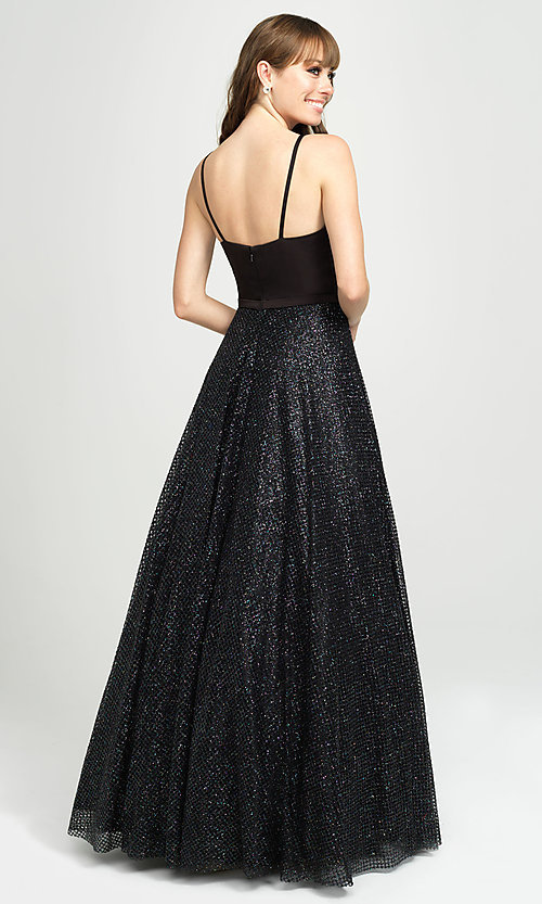 Image of long glitter ball-gown-style sleeveless prom dress. Style: NM-19-100 Back Image
