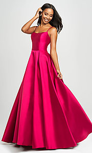 Image of long prom ball gown with pockets. Style: NM-19-107 Detail Image 5