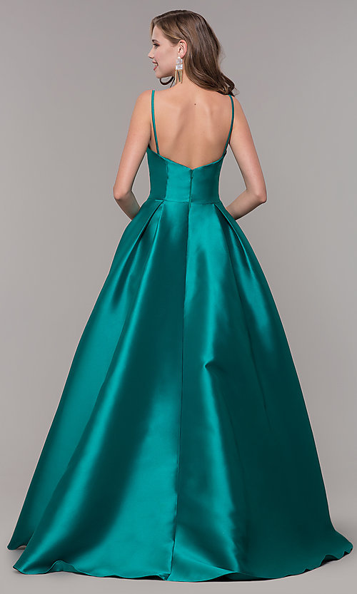 Image of long prom ball gown with pockets. Style: NM-19-107 Back Image