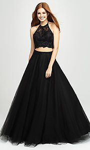 Image of long tulle two-piece Madison James prom dress. Style: NM-19-122 Detail Image 7