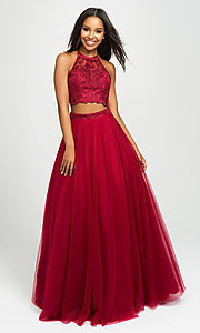 Image of long tulle two-piece Madison James prom dress. Style: NM-19-122 Detail Image 1