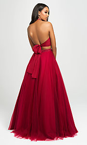 Image of long tulle two-piece Madison James prom dress. Style: NM-19-122 Detail Image 2