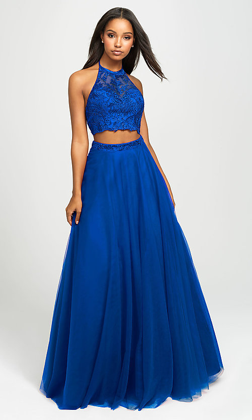 Image of long tulle two-piece Madison James prom dress. Style: NM-19-122 Detail Image 5