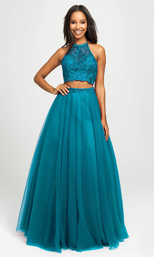 Image of long tulle two-piece Madison James prom dress. Style: NM-19-122 Front Image