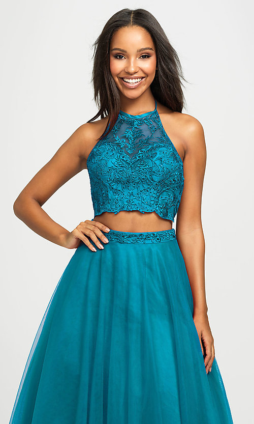 Image of long tulle two-piece Madison James prom dress. Style: NM-19-122 Back Image