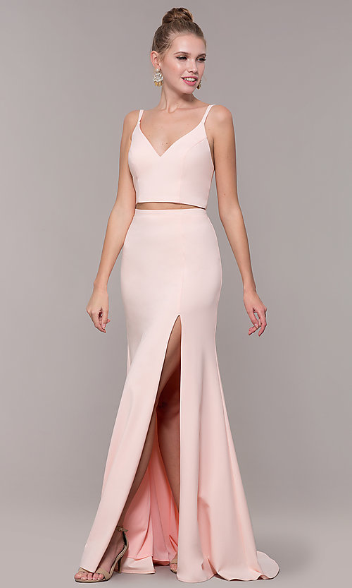 Image of long open-back two-piece prom dress with back bow. Style: NM-19-123 Detail Image 3