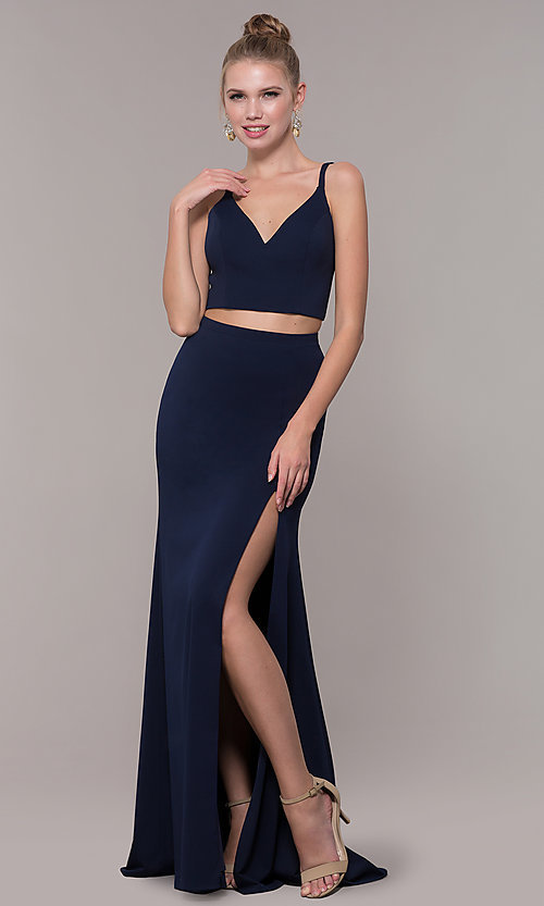 Image of long open-back two-piece prom dress with back bow. Style: NM-19-123 Detail Image 5