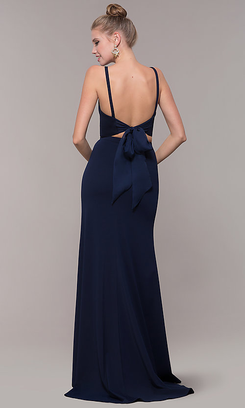 Image of long open-back two-piece prom dress with back bow. Style: NM-19-123 Detail Image 6