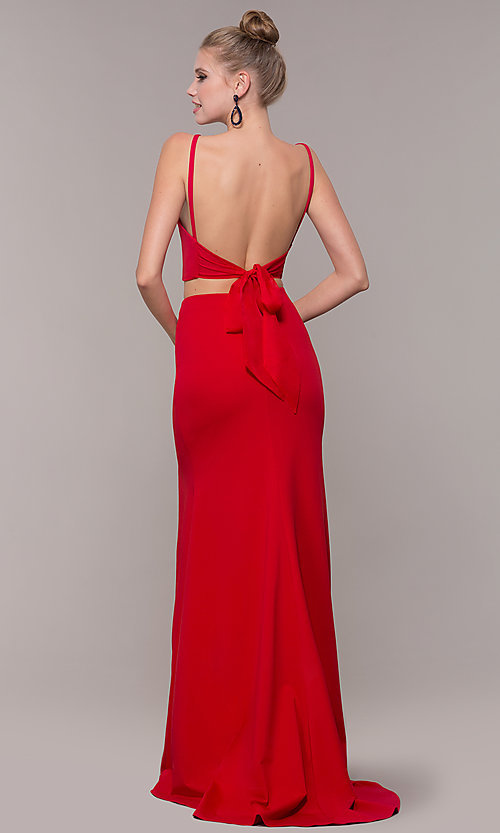 Image of long open-back two-piece prom dress with back bow. Style: NM-19-123 Back Image