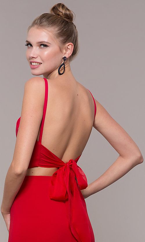 Image of long open-back two-piece prom dress with back bow. Style: NM-19-123 Detail Image 2
