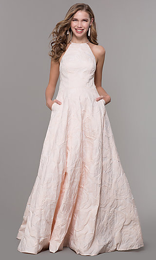 Long Brocade Open Back Prom Dress