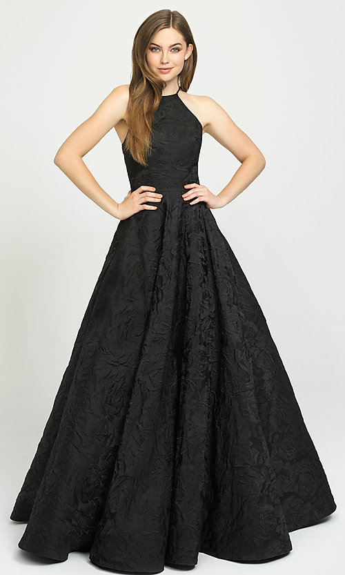 Image of long high-neck backless prom dress in brocade. Style: NM-19-125 Front Image