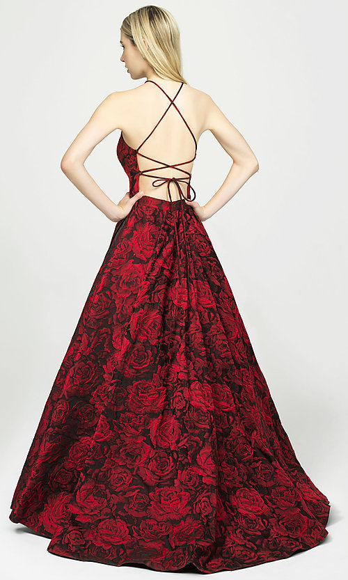 Image of long high-neck backless prom dress in brocade. Style: NM-19-125 Back Image