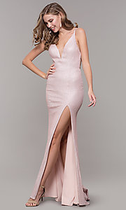 Image of long open-back prom dress with side slit. Style: NM-19-131 Front Image