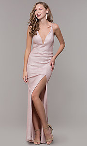 Image of long open-back prom dress with side slit. Style: NM-19-131 Detail Image 3
