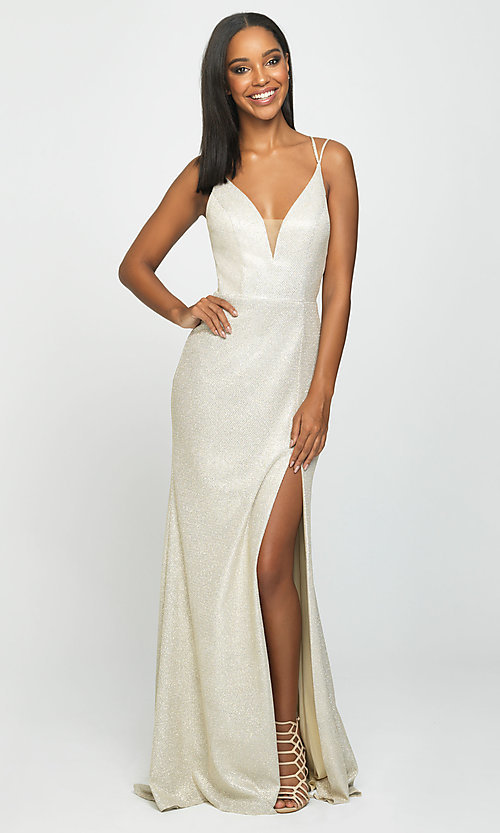 Image of long open-back prom dress with side slit. Style: NM-19-131 Detail Image 4
