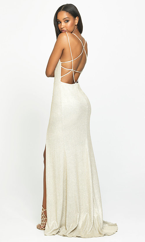 Image of long open-back prom dress with side slit. Style: NM-19-131 Detail Image 5