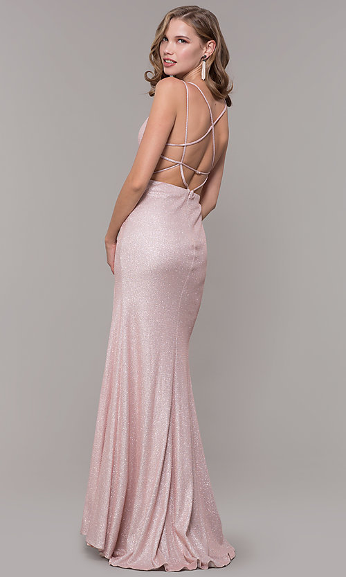 Image of long open-back prom dress with side slit. Style: NM-19-131 Back Image