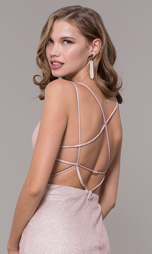 Image of long open-back prom dress with side slit. Style: NM-19-131 Detail Image 2