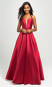 Image of v-neck halter formal prom dress with back cut out. Style: NM-19-171 Detail Image 6