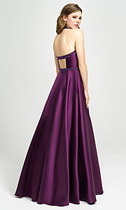 Image of v-neck halter formal prom dress with back cut out. Style: NM-19-171 Back Image