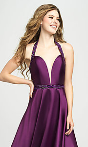 Image of v-neck halter formal prom dress with back cut out. Style: NM-19-171 Detail Image 4