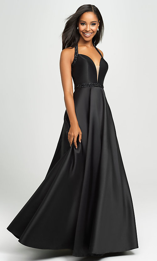 Image of v-neck halter formal prom dress with back cut out. Style: NM-19-171 Detail Image 5