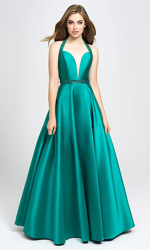 Image of v-neck halter formal prom dress with back cut out. Style: NM-19-171 Front Image