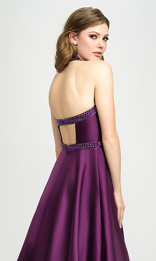 Image of v-neck halter formal prom dress with back cut out. Style: NM-19-171 Detail Image 2