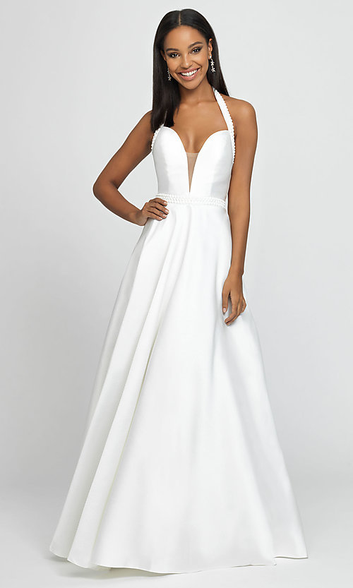 Image of v-neck halter formal prom dress with back cut out. Style: NM-19-171 Detail Image 8