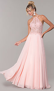 Image of high-neck long blush pink prom dress by PromGirl. Style: DQ-PL-2692 Front Image