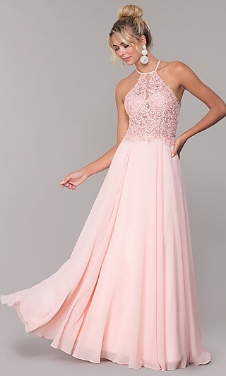 High-Neck Long Blush Pink Prom Dress by PromGirl