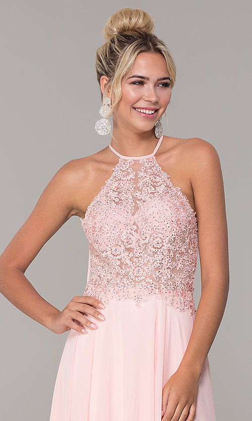Image of high-neck long blush pink prom dress by PromGirl. Style: DQ-PL-2692 Detail Image 1
