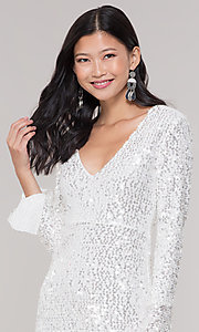 Image of long-sleeve white short sequin holiday party dress. Style: FAN-EKD2097 Detail Image 1