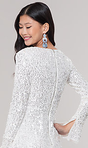 Image of long-sleeve white short sequin holiday party dress. Style: FAN-EKD2097 Detail Image 2