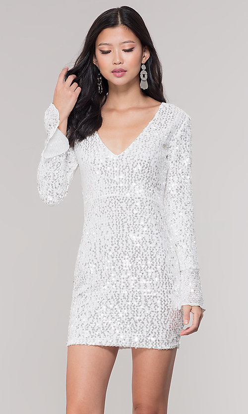 Image of long-sleeve white short sequin holiday party dress. Style: FAN-EKD2097 Front Image