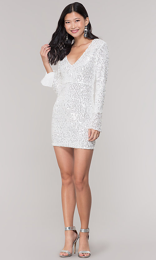 Image of long-sleeve white short sequin holiday party dress. Style: FAN-EKD2097 Detail Image 3