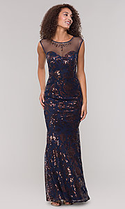 Image of long sequin-embellished mother-of-the-bride dress. Style: IT-7119151 Front Image