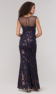 Image of long sequin-embellished mother-of-the-bride dress. Style: IT-7119151 Back Image