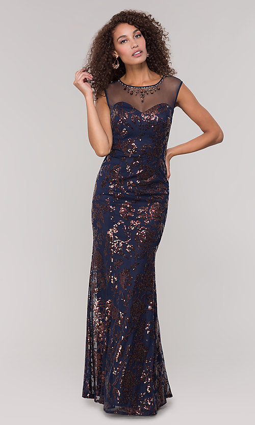 Image of long sequin-embellished mother-of-the-bride dress. Style: IT-7119151 Detail Image 3