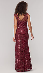 Image of lace long mother-of-the-bride dress in claret red. Style: IT-7120139 Back Image