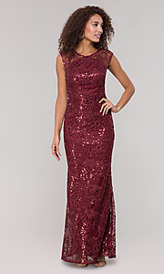 Image of lace long mother-of-the-bride dress in claret red. Style: IT-7120139 Detail Image 3