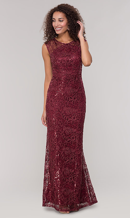 Image of lace long mother-of-the-bride dress in claret red. Style: IT-7120139 Front Image