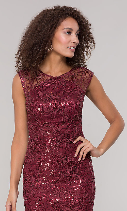 Image of lace long mother-of-the-bride dress in claret red. Style: IT-7120139 Detail Image 1