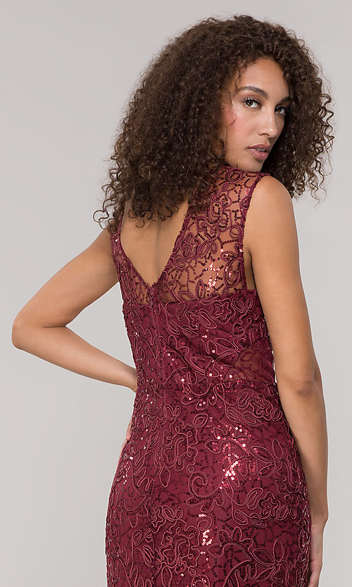 Image of lace long mother-of-the-bride dress in claret red. Style: IT-7120139 Detail Image 2