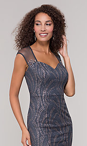 Image of grey glitter-embellished mother-of-the-bride dress. Style: IT-7133111 Detail Image 1