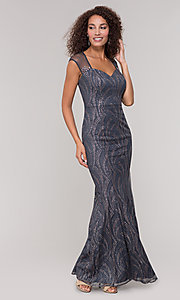 Image of grey glitter-embellished mother-of-the-bride dress. Style: IT-7133111 Detail Image 3