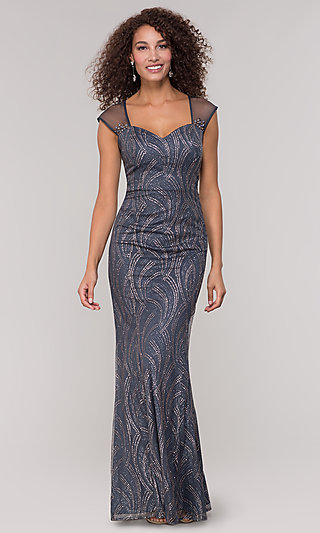 Grey Glitter-Embellished Mother-of-the-Bride Dress