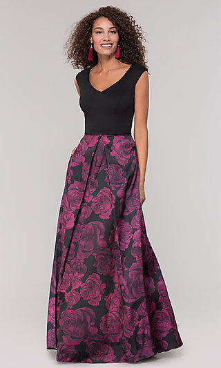 Black and Magenta Print Mother-of-the-Bride Dress