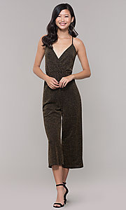 Image of gold v-neck holiday jumpsuit. Style: RO-R68726 Front Image